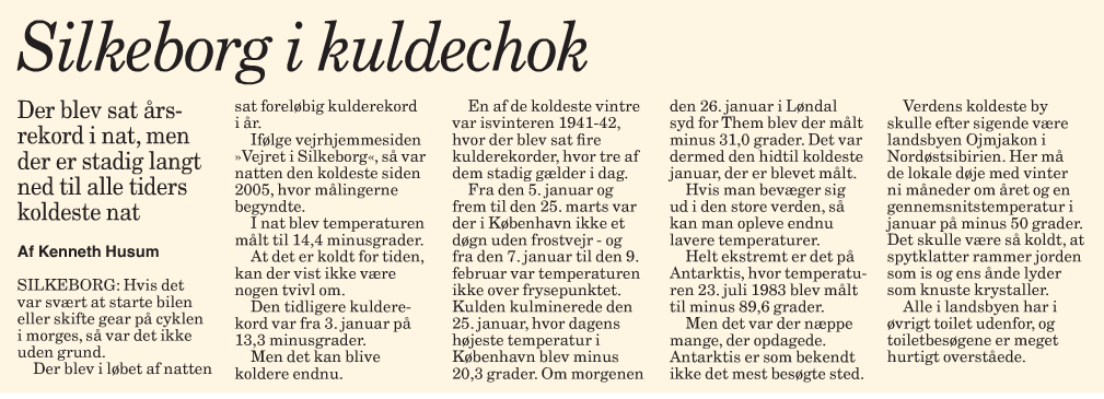 Article in Midtjyllands Avis 26/1-2010